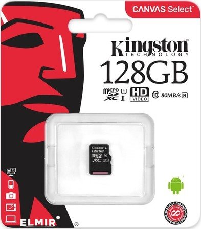 Карта памяти KINGSTON microSDXC 128Gb Canvas Select U1 (SDCS/128GBSP)