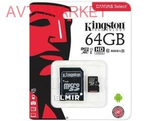 Карта памяти KINGSTON microSDXC 64Gb Canvas Select U1 (SDCS/64GB)